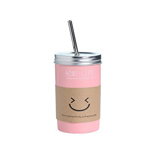 16oz Ceramic Tumbler with Lid and Straw, Coffe Tea Milk Juice Mug Simple Design Novelty Drinking Tumbler (Pink) (Straw Mug Juice With)