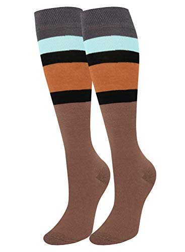 Girls Women Vintage Contrast Color Striped Knee High Socks Warm Cotton Over Calve Fun Party Custume Cosplay Tube