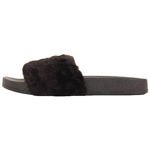 Eenvoudige Namaakbont Glijslipslip Sandaal Zwart Zwart