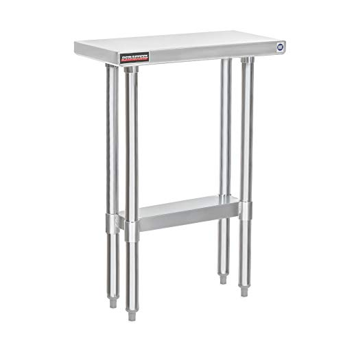 DuraSteel Stainless Steel Work Table 24 x 12 x 34 Height - Food Prep Commercial Grade Worktable - NSF Certified - Fits for use in Restaurant, Business, Warehouse, Home, Kitchen, Garage