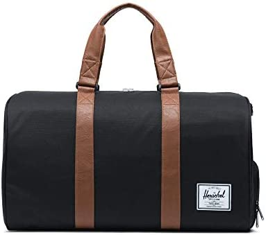 Herschel Novel Duffel Bag, Black/Tan Synthetic Leather, Classic 42.5L