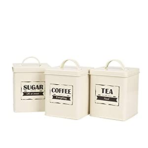 Home By Jackie X321 Cream White Set of 5 Metal Food Tin Canister/Bread Bin/Container/Box/Set (Cream A)