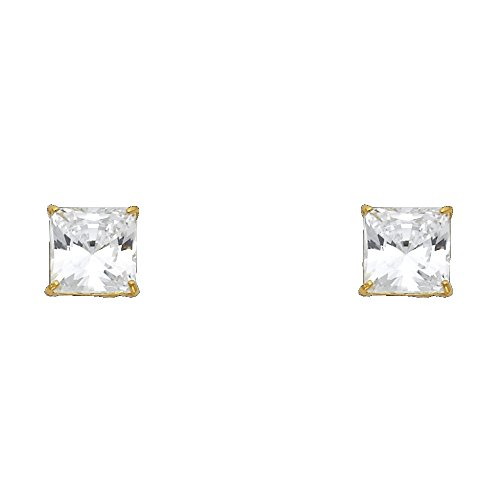 Sonia Jewels 14k Yellow Gold Cubic Zirconia CZ 7mm Princess Cut Square Basket Set Womens Stud Earrings (2.0 Ct.)
