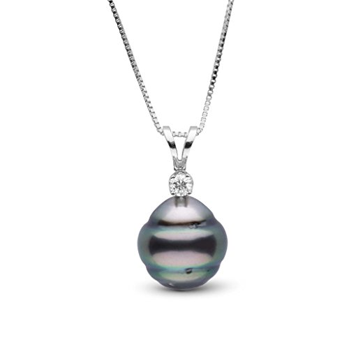 Harmony Collection 9.0-10.0 mm Tahitian Baroque Cultured Pearl & Diamond Pendant - White Gold - 16 Inch