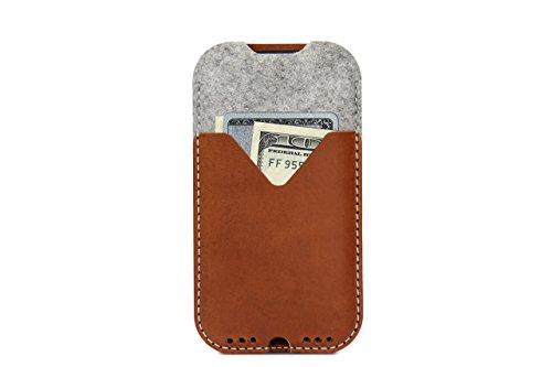 100% Handmade Italian Leather - Pack & Smooch Kirkby Samsung Galaxy S8 Case - Handmade in Germany With Real Italian Vegetable-Tanned Leather and 100% Merino Wool - Dark Grey/Dark Brown