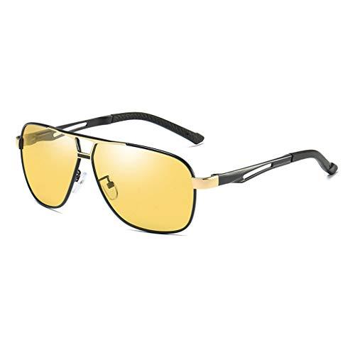 de Las Gafas Color Las Espejo de Sol Sol Hombres de de del Sol Las Las de los Gafas del ShenZuYangShop polarizadas Retro Marco Gafas Sol Yellow Gafas Llevar Black de de Gold Color para de metálico zPa8q8