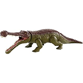 Jurassic World Massive Biters, Sarcosuchus, Larger-sized Dinosaur Action Figure with Tail-activated Strike and Chomping Action, , Movable Joints, Movie-authentic Detail; Ages 4 and Up