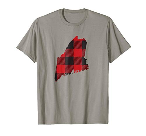 Maine State Flannel Plaid print design tee t-shirt