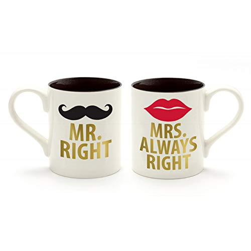 Our Name is Mud Mr. and Mrs. Stoneware Coffee Mug Set, Gold Word