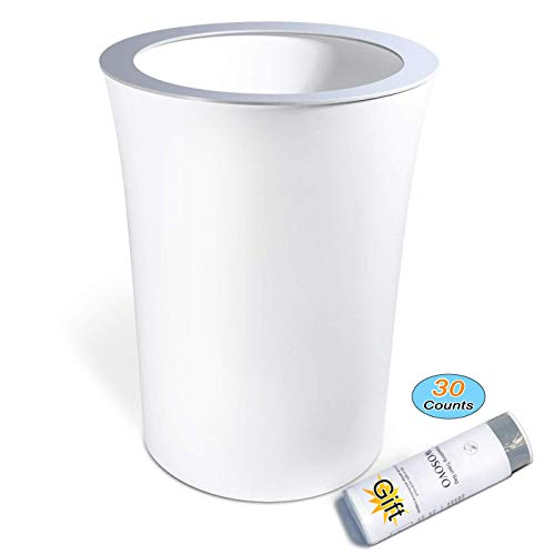 Small Trash Can 10 Liter/2.6 Gallon Hide Garbage Bag, Bath Bedroom Kitchen Wastebasket for Office Home Eco-friendly, Modern Round Garbage Can White Plastic with Drawstring Trash Bags 30 Counts