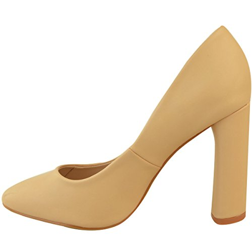 Fashion Thirsty Heelberry® Womens Ladies New Block High Heels Court Shoes Sandals Formal Smart Office Size Nude Faux Leather BK2hVh