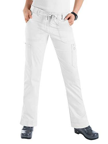 (Koi Women's Skinny Stretch Petite Lindsey Mid-Rise Drawstring Waist Cargo Scrub Pant - X-Large Petite - White)