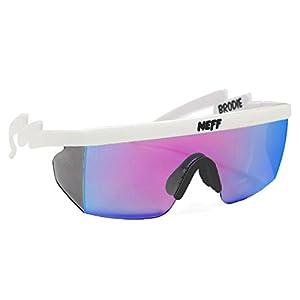 neff Brodie Shades Rimless Sunglasses, White Rubber, 6 mm