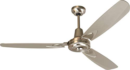 Craftmade 3 Blade Ceiling Fan Without Light VE58BNK3 Velocity Stainless Steel Industrial 58 Inch and Wall Control