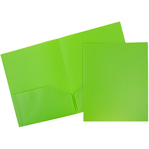JAM Paper Plastic Eco Two Pocket Presentation Folder - Lime Green - 6/pack