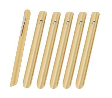 NEW, Restaurant Table Crumbers w/Pocket Clip, Gold-Finish Aluminum, Waiter Waitress Table Crumber - Set of 6
