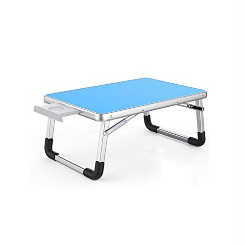 QIDI Folding Table Laptop for Bed Study Breakfast Drawing Bedroom Home Office (Color : Blue, Size : 7050cm)