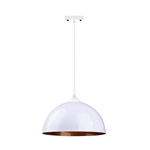 (Mozeny Modern Metal Iron Internal Gold Hemisphere Lampshade Ceiling Pendant Light Simple Creative E27 Edison Restaurant Dining Room Coffee Shop Bars Pubs Café Hanging Lamp (Color : White))