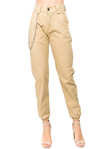 TwiinSisters Women's High Rise Slim Fit Plus Size Belted Jogger Pants - Size Small to 3X ()