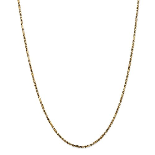 14k Gold Solid Diamond-Cut Milano Rope Chain Necklace with Lobster Clasp (2.1mm) - Yellow-Gold, 24 in