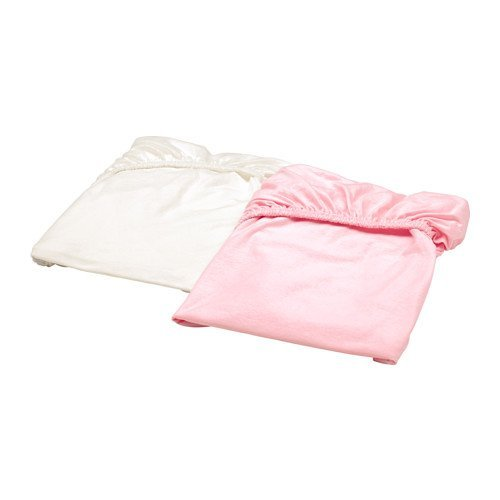 IKEA Len Crib Fitted Sheet White Pink 2 pack 203.201.90 Size 28x52