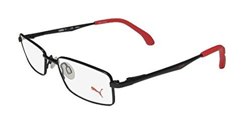 Puma 15426 Mens/Womens Spring Hinges Popular Shape Vision Care Optimal TIGHT-FIT Designed For Active Lifestyles Eyeglasses/Glasses (48-17-135, Black/Red) (Lifestyle-brille)