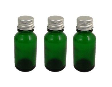 Tres verde botella de cristal Durham (15ml) con tapón de rosca de aluminio (