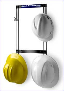 """Horizon 5004 Heavy-Duty Steel Hard Hat/Coat and Fall Protection Rack, 14"""" Width x 22-3/4"""" Height x 2-1/4"""" Depth, Holds 4 Hats"""