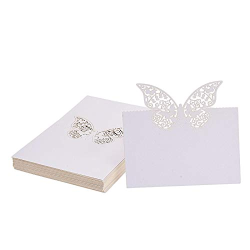 Kmall 50PCS White Butterfly Blank Card Table Carved Mark Place Name Cards Holder for Guest Engagement Birthday Wedding Birth Baptism Christmas Wedding Banquet Champagne Decoration Party Favor Decor