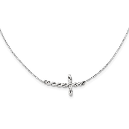 Religious Twisted Necklace - ICE CARATS 14k White Gold Twisted Sideways Cross Religious 17 Inch Chain Necklace Fancy Fine Jewelry Ideal Gifts For Women Gift Set From Heart