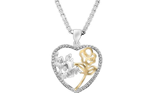 S925 Silver Zirconia Diamond Heart Pendant Necklace LUV YOU MOM with Yellow Gold Rose (Gift Boxed) (3 Yellow Love Roses)