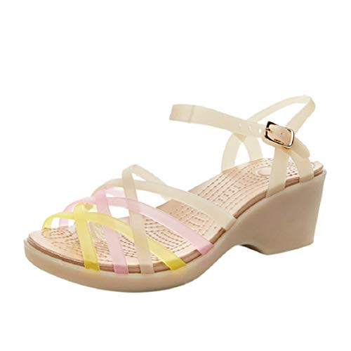 Women Fashion Wedge Platform Sandals Colorful Jelly Shoes Rainbow Cross Strappy Ankle Strap Heel Sandals by Lowprofile