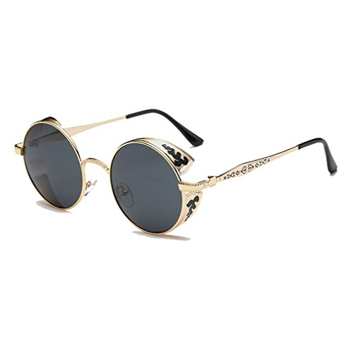 LOMOL Retro Trendy Cool Steampunk Flip Lens UV Protection Polarized Round Sunglasses For - 2014 Best Fishing Fly Sunglasses