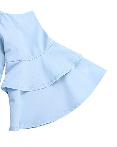 3 donna a Blue 4 Light Camicia StyleDome Maniche qBUR4ft