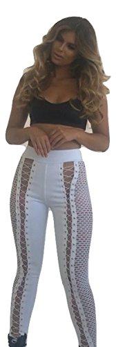 Neuf femmes Blanc résille et Croisillons devant lacé Legging Fancy Dress Porter Casual Wear Club Wear Taille L UK 12EU 40
