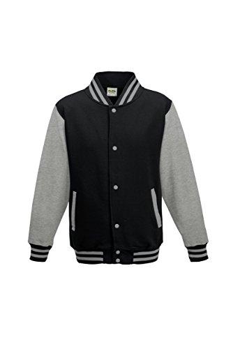 Awdis Kid's Varsity Jacket Jet Black / Heather Grey 7-8 Yrs -