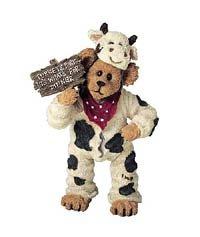 Boyds Bears Shoe Box - Boyds Shoebox Cow Bear Angus Bearger..Quit Yer Beefin! #3230