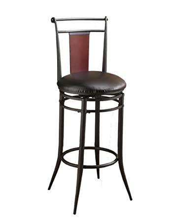 Hillsdale Midtown Inch Swivel Bar Stool Black finish with Dark Cherry Accented Back