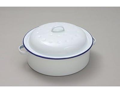 26cm White Round Enamel Roaster