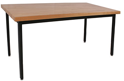 Lobo Tables LOB9070-FX 24 in. x 5 4 in. Fully Welded Lobo Table Black Frame and Fixed Legs 1.7 5 in. Hardwood Top