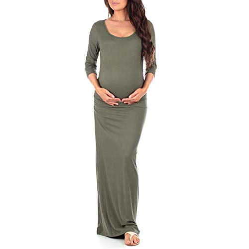 Women's Ruched Bodycon Maternity Dress with by Mother Bee in Regular and Plus Sizes Made in USA, Olive, X-Large