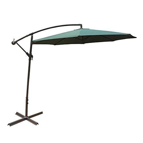 ALEKO UMB10FTG Adjustable Outdoor Banana Hanging Canopy Umbrella Patio Waterproof Polyester with 360 Degree Rotation 8 x 10 Feet Green