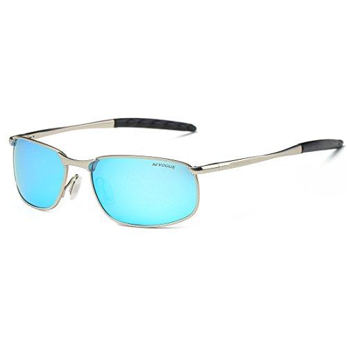 7292e003008 AEVOGUE Polarized Sunglasses for Men Rectangle Metal Frame Retro Sun Glasses  AE0395 (Silver Blue