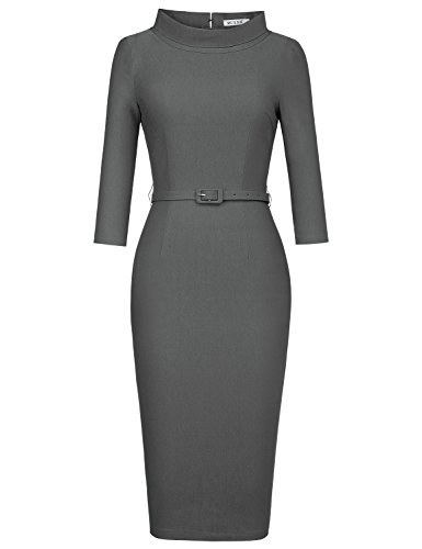 Cocktail Gray (MUXXN Women's 1950s Vintage 3/4 Sleeve Elegant Collar Cocktail Evening Dress (3XL, Gray))
