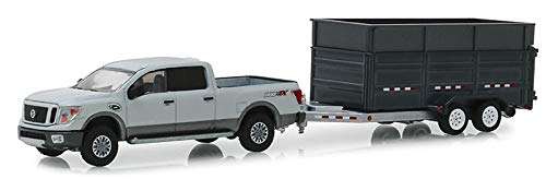 (Greenlight 32160-D Hitch & Tow Series 16-2018 Nissan Titan XD Pro-4X and Double-Axle Dump Trailer 1:64 Scale)
