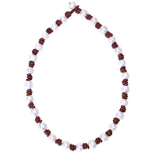 Genuine Pearl Braided Leather Necklace - Aobei Pearl Women's Knotted Freshwater Cultured Pearls Leather Choker Necklace with White Pearl on Genuine Leather Cord 18