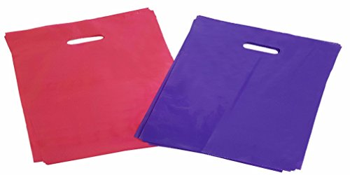 120 Glossy Merchandise Bags (60 Purple & 60 Pink) 12x15'' | Retail Bags, Die Cut Handles & No Gusset | For Birthday Gifts, Wedding & Party Favors, Stores, Shopping & - Zipper Bags Grip Mini