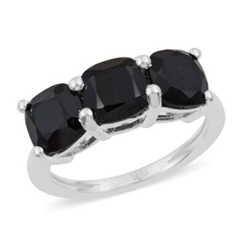 (925 Sterling Silver Cushion Black Spinel Trilogy Ring for Women Jewelry Size 6 Cttw 2.5)