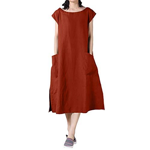 Women Cotton Linen Pocket Dress Summer Casual Cap Sleeve Round Neck Side Split Solid Loose Beach Sun Dresses (Medium, Orange)
