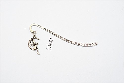 (Silver Fairy on Moon Charms Start Charm Angel Charms Tone Patterned Bookmarks Charm Angel Bookmarks Best Gift for Reader Mini Bookmark)